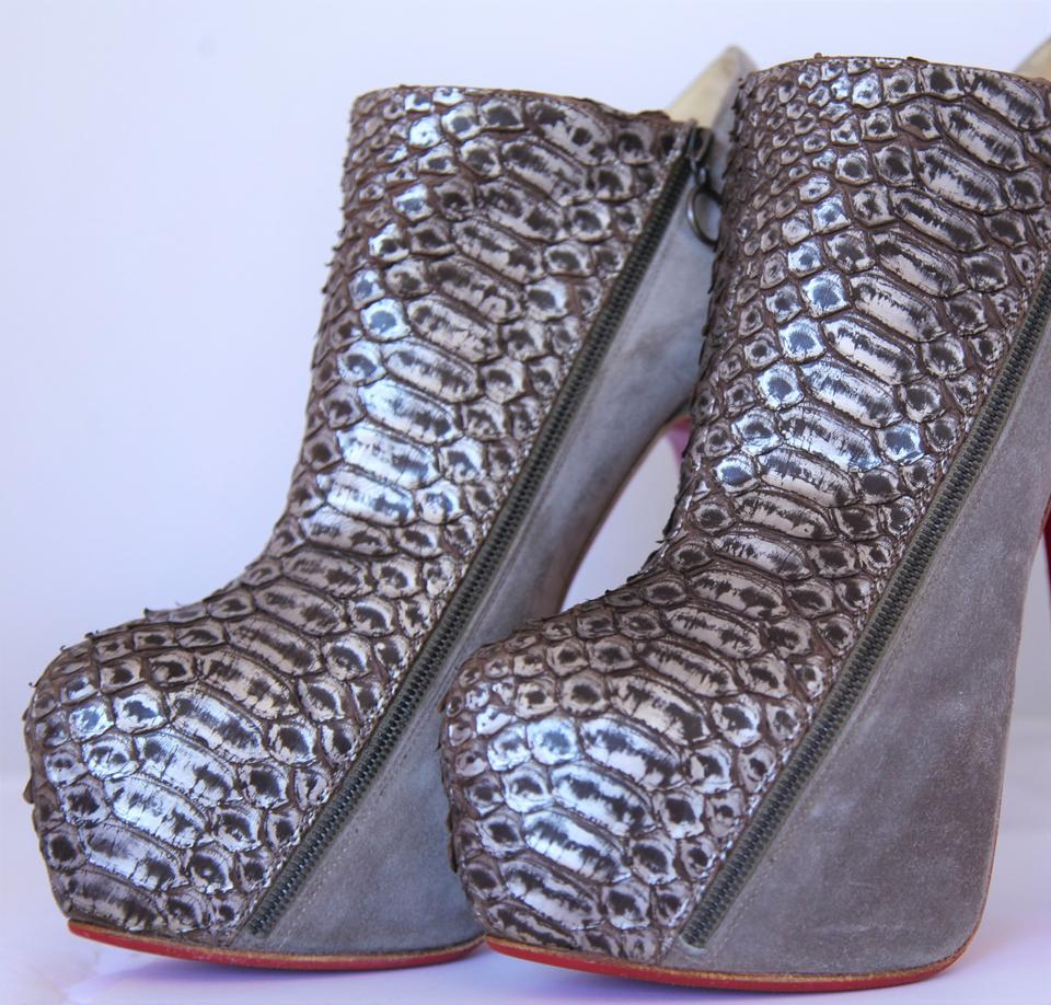 Sole Heel Booties It Gray High 4a Boots Louboutin Bronze Python suede 38 Fashion Ankle Christian Red Lady Platform 16vq85x