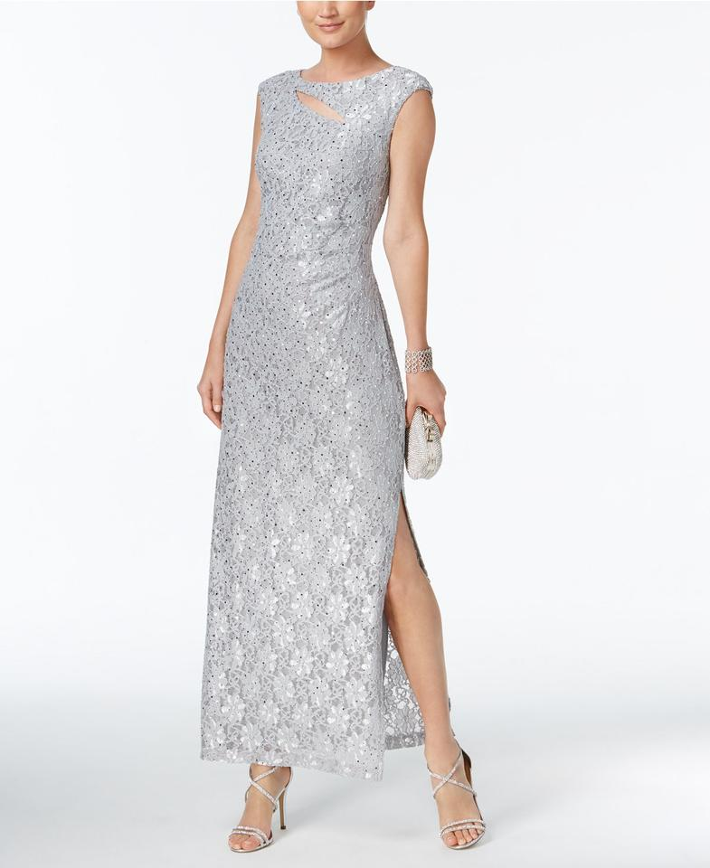 281aed54fcd1 Connected Apparel Platinum Cutout Sequined Lace Gown Long Formal ...