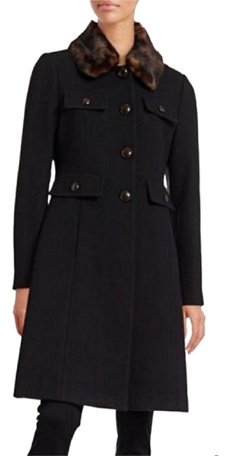 Item - Black Twill Wool-blend Overcoat with Faux Collar Coat Size 16 (XL, Plus 0x)