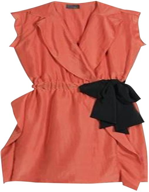 Item - Terracotta Orange Silk Wrap Trench Contrast Belt Night Out Dress Size 4 (S)