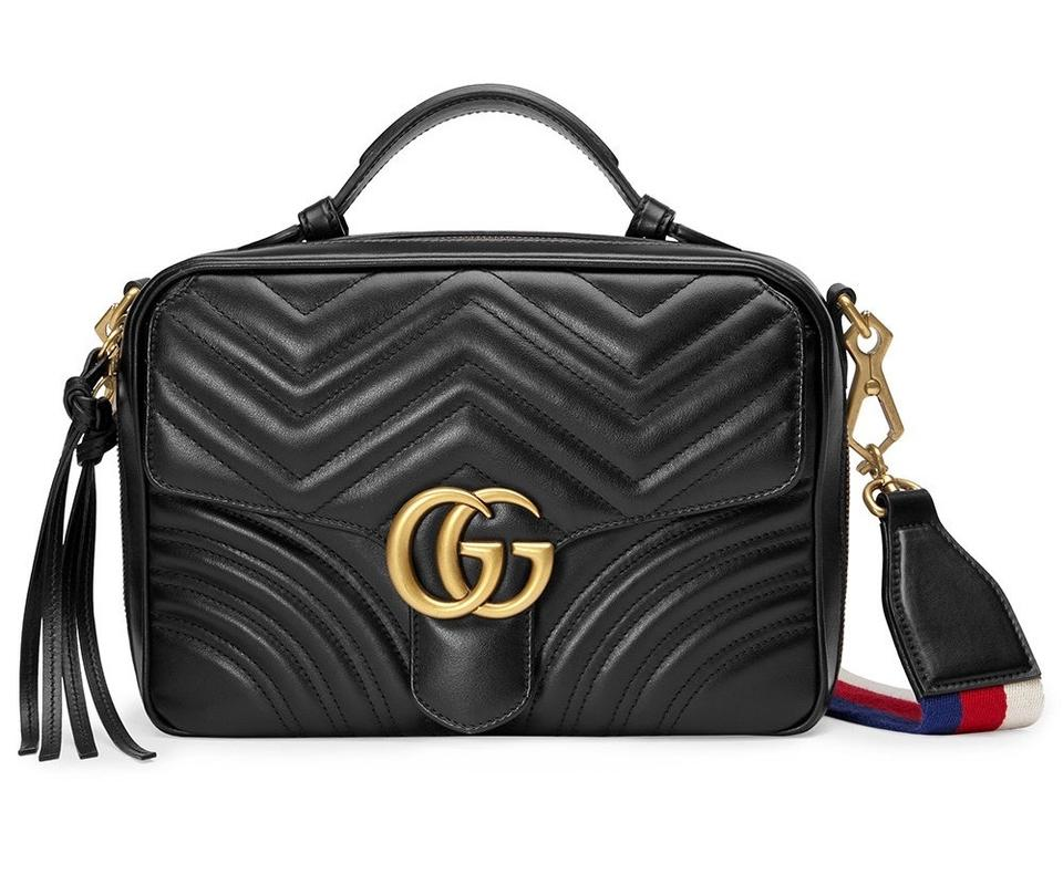 412d5498d5a Gucci Marmont Gg Matelasse Black Calfskin Leather Shoulder Bag - Tradesy