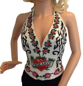Escada Red, White, Black & Green Halter Top