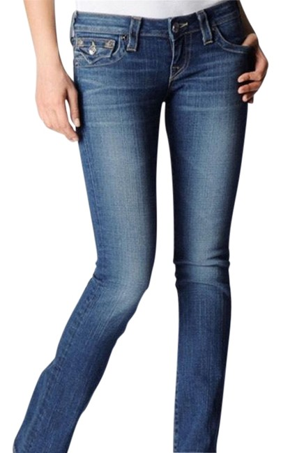 Item - Blue Distressed Low Rise Slight Flare Boot Cut Jeans Size 28 (4, S)