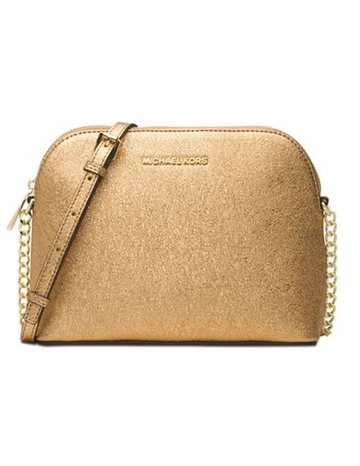 cdf9ef9c1074 Michael Kors Cindy Large Dome Embossed Pale Gold Leather and Fabric ...