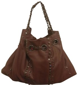 Fortuna Valentino Tote in Brown with silver studs