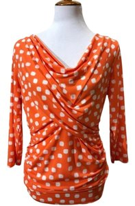 Vince Camuto Top Orange White