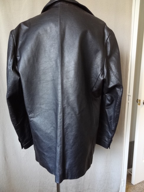 gap black mens blazer leather jacket size 10 m tradesy