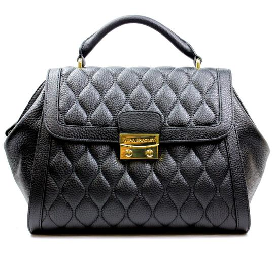 Vera Bradley Black Leather Quilted Stella In Sycamore