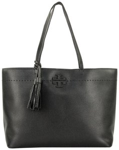 Tory Burch Mcgraw Leather Tote in Black