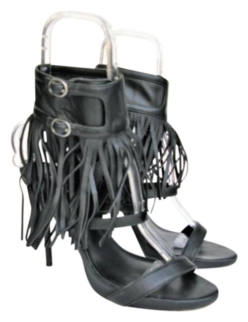 Item - Black 'evi' Leather Ankle Wrap Fringed Stiletto Sandals Size US 10 Regular (M, B)