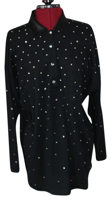 Bonavitacola Top Black wool with rhinestones and silk collar