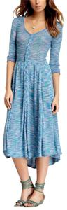 Green Blue Pink Maxi Dress by Free People Fp New Romantics Gown Maxi Long Draped Bohemian Summer Vacation New