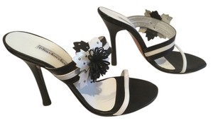 Charles David All Leather Black and white Mules