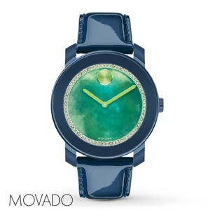 Movado Movado Blue Patent Leather Strap Green Dial Bold 3600267 Watch