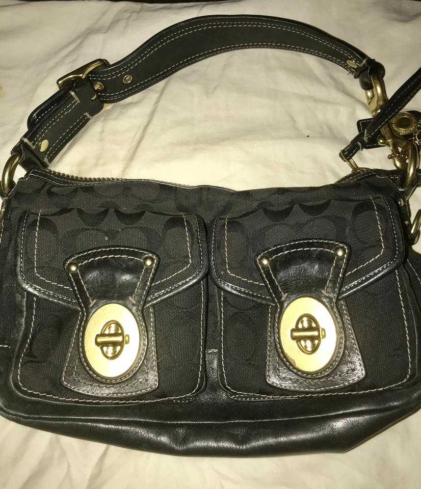 Coach Legacy Double Pocket Purse F06k-10339 Black Canvas and Leather ... c5cfe771b214d