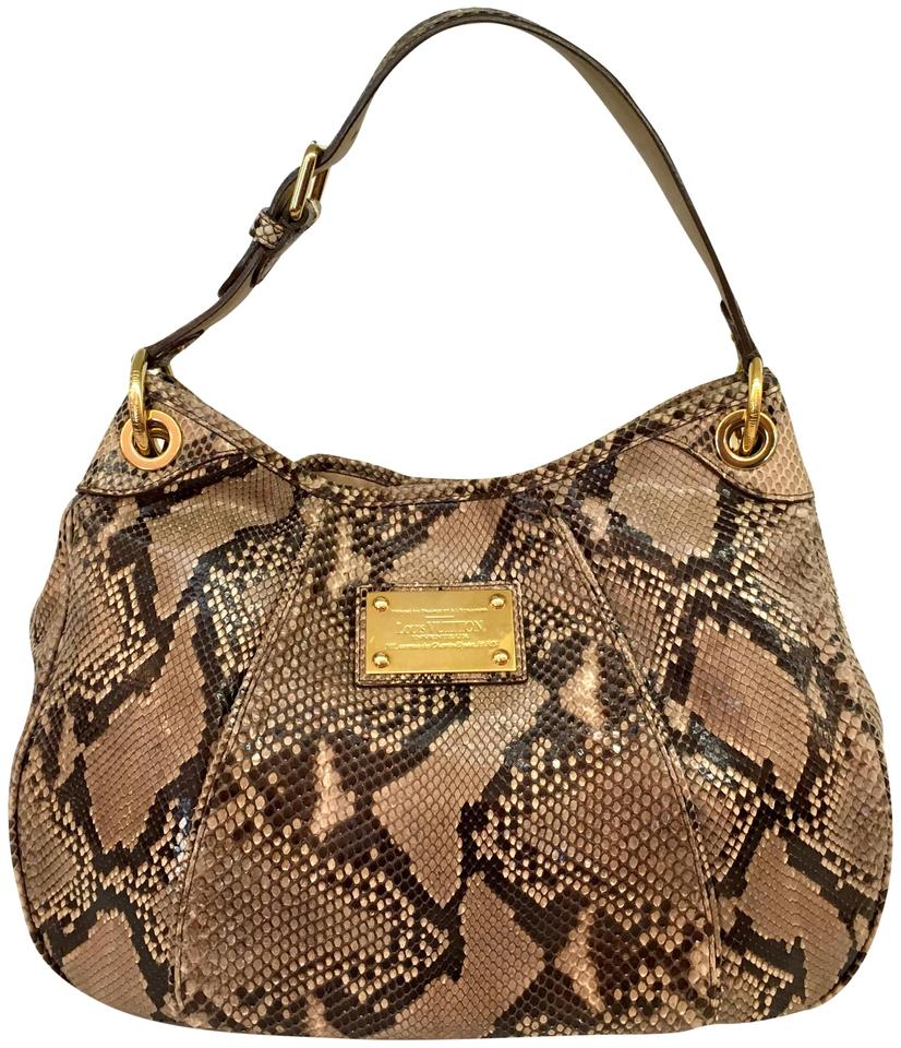 73ab2be76831 Louis Vuitton Galliera Python Brown Natural Snakeskin Leather Hobo ...