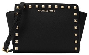 799ed4dbca5e Added to Shopping Bag. MICHAEL Michael Kors Selma Studded Messenger Cross  Body Bag. MICHAEL Michael Kors Selma Stud Medium Messenger Black Saffiano  Leather ...