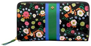 Tory Burch NEW!!! TAGS FLORAL PATENT ZIP AROUND CONTINENTAL WALLET NWT