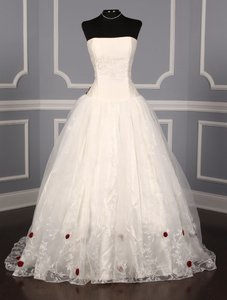 St. Pucchi Very Light Ivory and Ruby Red Silk Shantung Organza Fleur Formal Wedding Dress Size 14 (L)