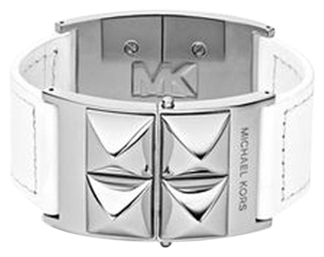 Item - White Silver Pyramid Stud Leather Cuff Bracelet