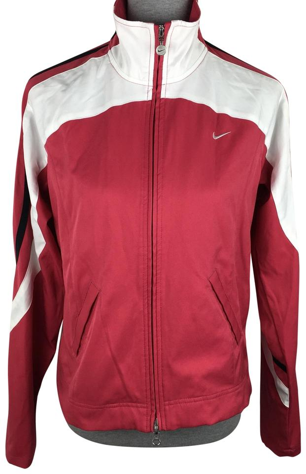 Nike White Pink Black Soft Shell Windbreaker Activewear Size 10 (M ... 5eaac4afc