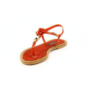Dolce&Gabbana Italian Casual Leather Gold Hardware Red Sandals