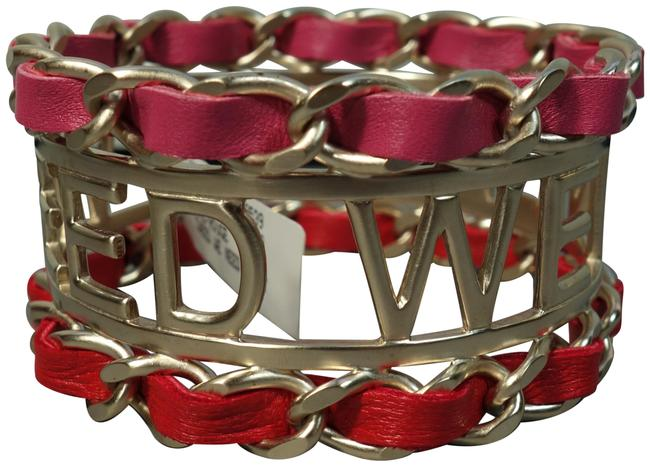 """Item - Gold Pink Red Box Tweed We Need Cuff Woven Leather """"Cc"""" New Bracelet"""
