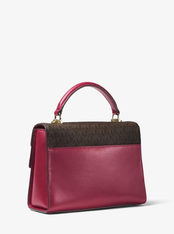 494a3e0e26bf MICHAEL Michael Kors Sloan Signature Print Top Handle Satchel in mulberry  Image 5. 123456