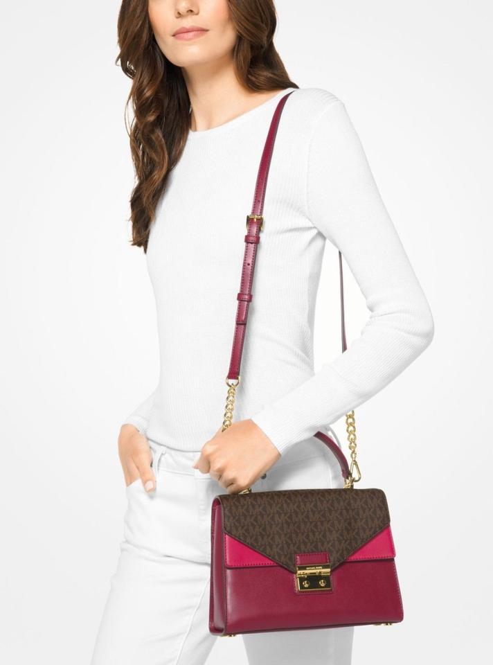 2d87d092fb60d0 MICHAEL Michael Kors Sloan Signature Print Top Handle Satchel in mulberry  Image 5. 123456