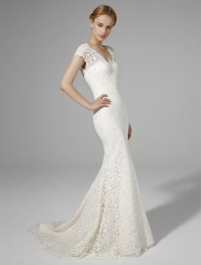Peter Langner Ivory Guipure Lace Rachel Due Formal Wedding Dress Size 10 (M)