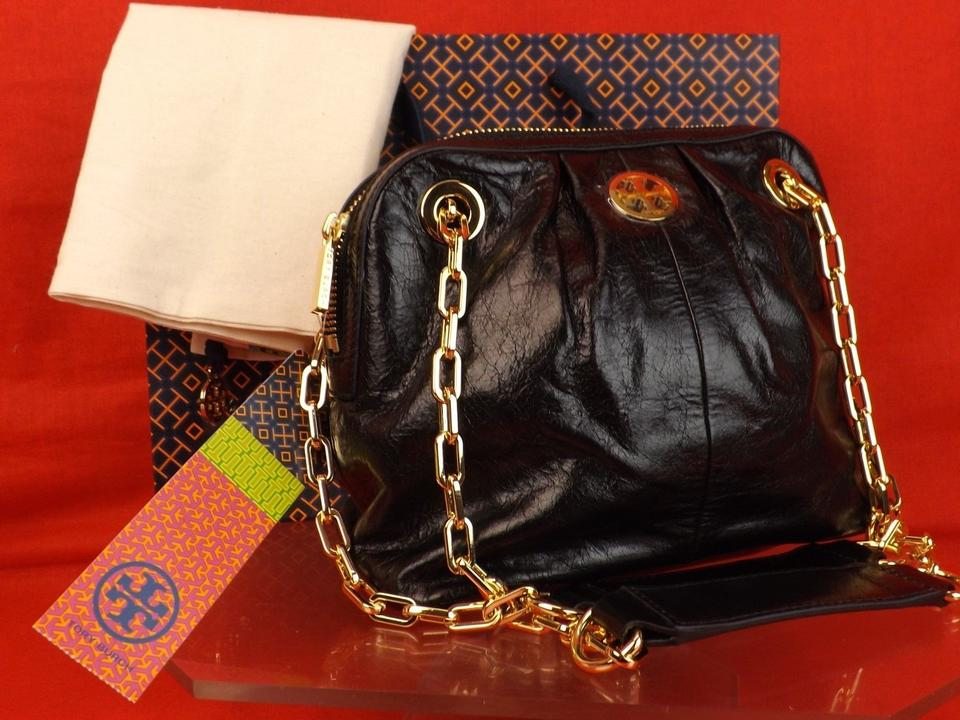 Mini Zip Dena Leather Double Chain Burch Black Tory Shoulder Gold Bag Reva w4x50nYCq