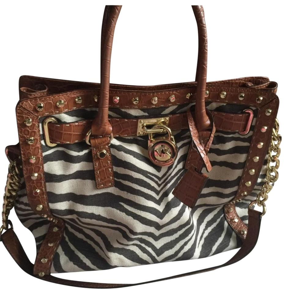 a3ca48cf1ea6 Michael Kors Hamilton Brown Zebra Print Canvas and Leather Satchel ...