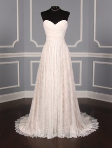 Romona Keveza Light Ivory and Blush Chantilly Lace L7128 Formal Wedding Dress Size 8 (M)