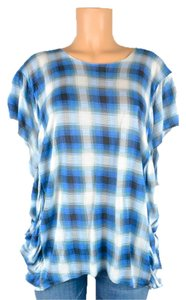 TORN BY RONNY KOMO Plaid Top blue white black plad