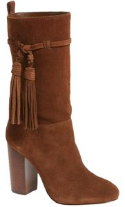 Vince Camuto Leather Suede Tassels Pull On Brown Boots