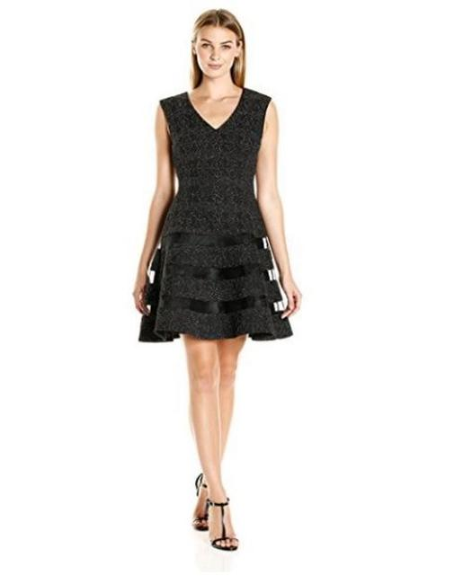 Item - Black Silver Illusion Fit & Flare Short Cocktail Dress Size 6 (S)