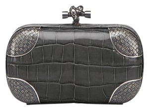 Bottega Veneta Made In Italy Crocodile Leather Knot Intrecciato Silver Light Gray Clutch