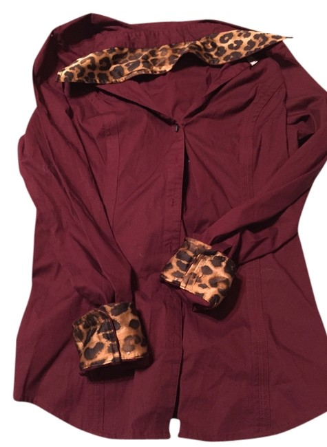 Express Button Down Shirt Red and animal print