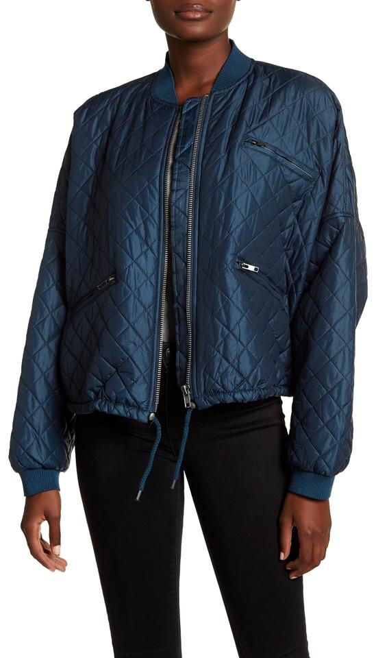 81c138c62 Free People Dark Turquoise Quilted Bomber Jacket Size 12 (L) 48% off retail