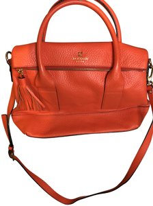 Kate Spade Leather Satchel in Chili Red/Orange