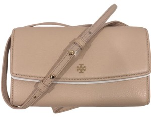 Tory Burch Leather Robinson Shoulder Beige Cross Body Bag