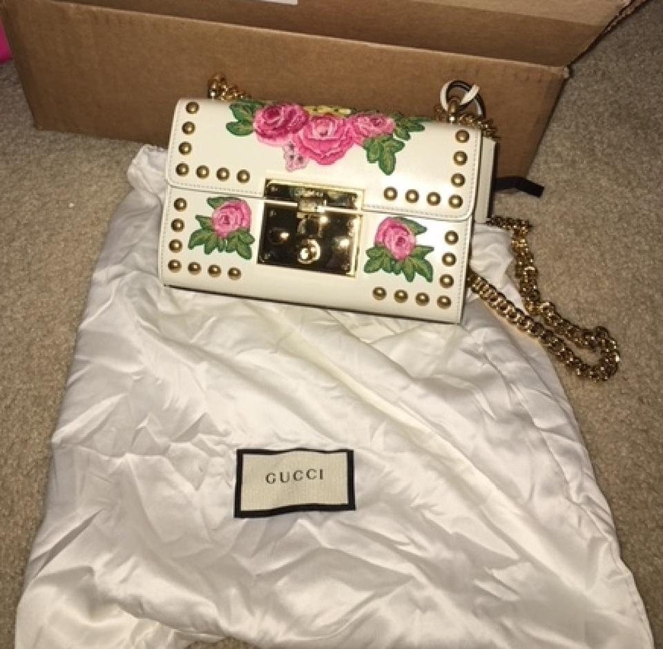 6a263f4d6d13 Gucci Padlock New Floral-embroidered Studded Shoulder Bag - Tradesy