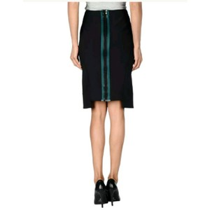 Opening Ceremony Exposed Zipper Pencil Bodycon Skirt Black Green