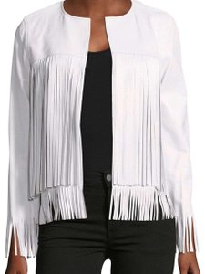 THEPERFEXT white Leather Jacket