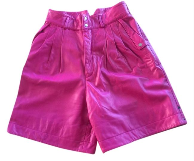 North Beach Leather Shorts Fuchsia and Chocolate Brown