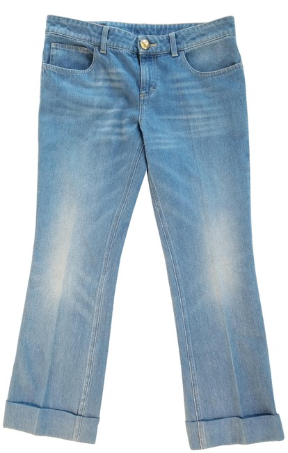 Gucci Skinny Ankle Crop Flare Leg Jeans-Light Wash Image 0