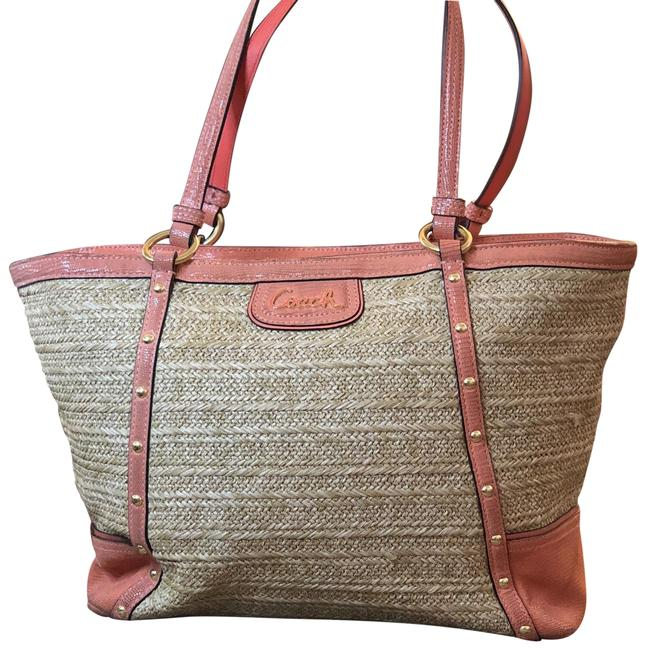 Item - Pink Embossed Gold Studded Tote Coral Python Skin Leather and Straw Beach Bag