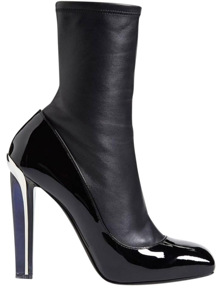 ab8f0bf5179f Alexander McQueen Black New Stretch Leather Patent Leather Lacquered-heel  Boots Booties