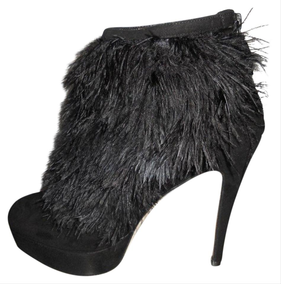 38ae903d24589 Brian Atwood Black Alexa Ostrich Feather Suede Platform Ankle Heel  Boots/Booties Size EU 41 (Approx. US 11) Regular (M, B) 54% off retail