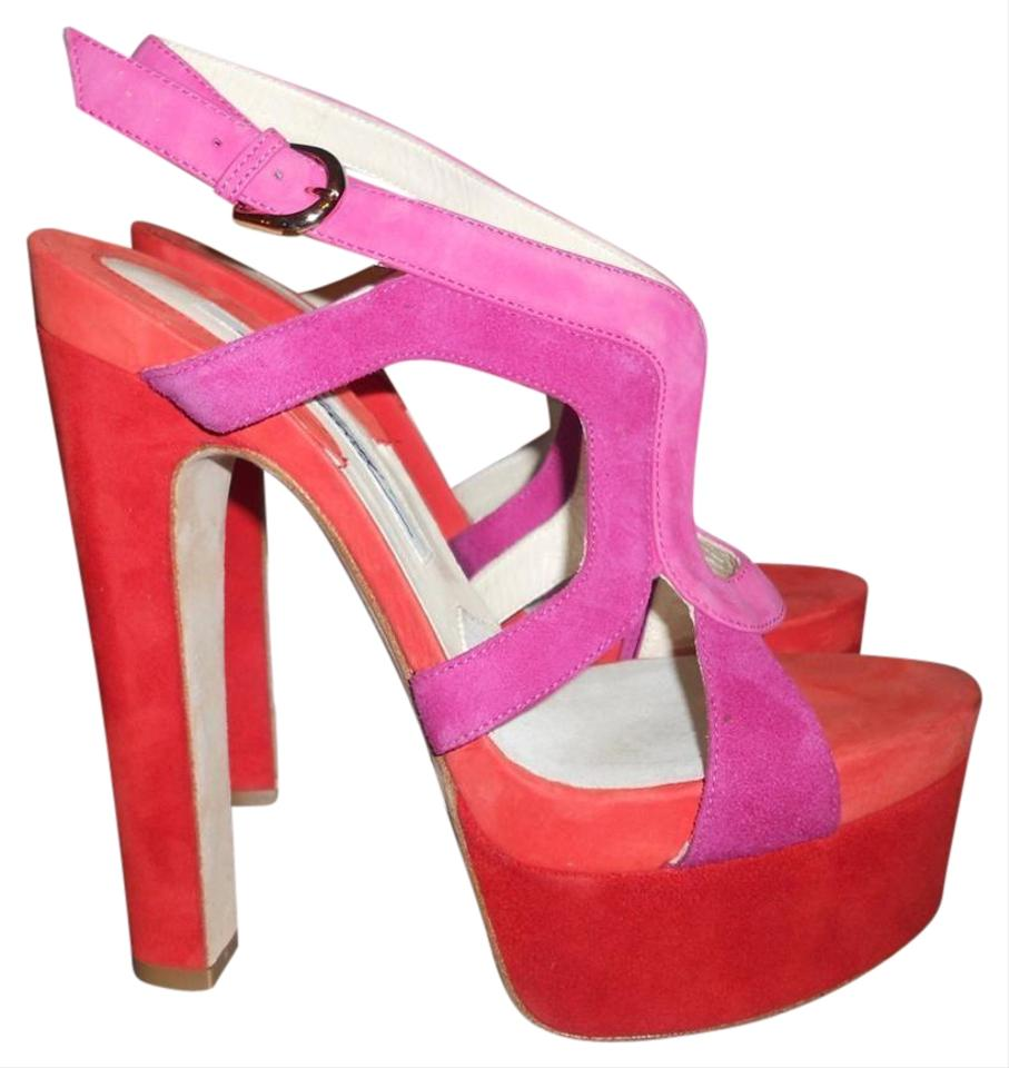 bef9bb8e2c4 Brian Atwood Platform Heels Daria Colorblock Red Pink Sandals Image 0 ...